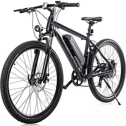 "Merax 26"" Aluminum Electric Mountain Bike Shimano 7 Speed E-Bike, 36V Lithium Battery 350W Electric Bicycle"