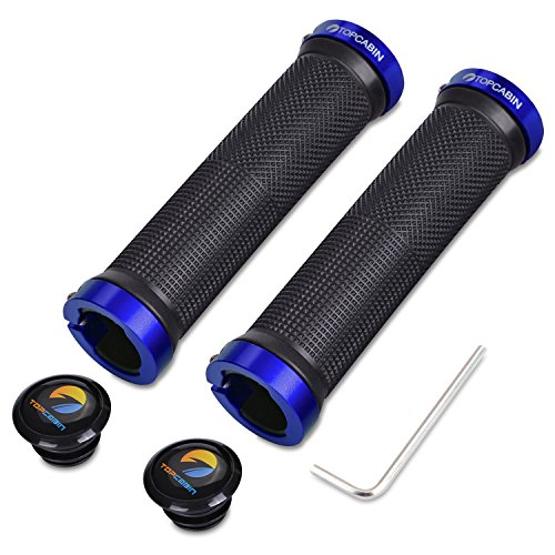 TOPCABIN Double Lock on Locking Bicycle Handlebar Grips Cycle Bicycle Mountain Bike BMX Floding (a Pair) Blue Gold Red (Blue (a pair))