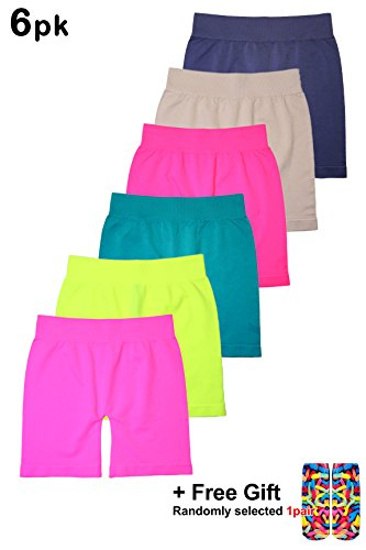 BASICO Girls Dance, Bike Shorts 6, 12 Value Packs - for Sports, Play Or Under Skirts