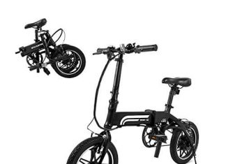 SwagCycle EB-5 Lightweight and Aluminum Folding EBike with Pedals, Electric Bike with 14 inch Wheels and 250W Hub Motor