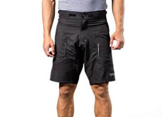 Bpbtti Mens Baggy MTB Mountain Bike Shorts with Removable Padded Liner Short (Black, Waist 35-37)