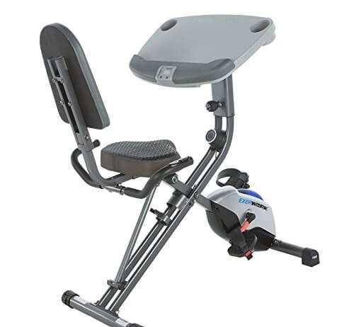 Exerpeutic ExerWorK 1000 Fully Adjustable Desk Folding Exercise Bike with Pulse