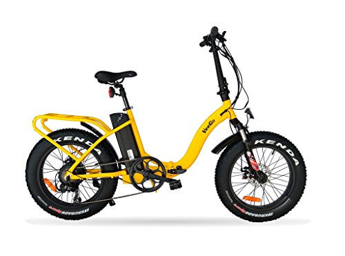 VeeGo Folding Fat Tire Electric Bicycle with a 500W Bafang Hub Motor and Heavy Duty Cargo Rack