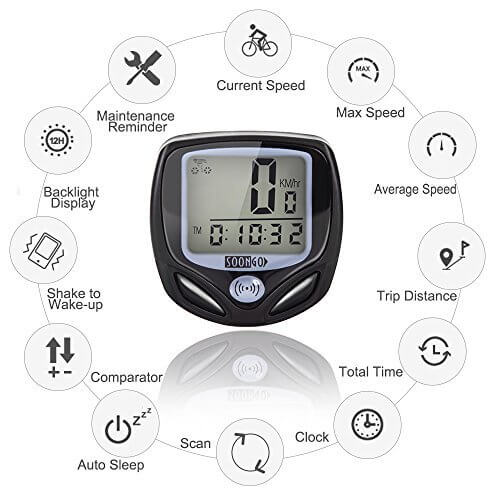 SOON GO Bike Speedometer, Wireless Bike Computer Accurate Speed Tracking & Multi-Function