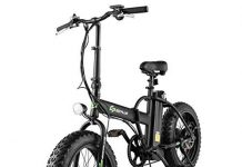 Goplus 20'' Folding Electric Bicycle Lithium Battery 500W Electric Bike for Adults with LCD Display and Shimano 7 Speed Gear