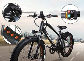 "NAKTO 26"" 500W Electric Bicycle Fat Tire Snow Mountain EBike Shimano 6 Speeds Gear with Removable 48V Lithium Battery,Smart Multi Function LED Display"