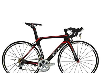 BEIOU 700C Road Bike Shimano 105 5800 11S Racing Bicycle T800 Carbon Fiber Bike Ultra-Light 18.3lbs CB013A-2 (Matte Black&Red, 520mm)