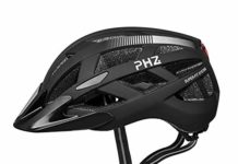 PHZ Adult Bike CPSC Certified Helmet with Rechargeable Led Back Light/Detachable Visor Ideal for Road Ride Mountain Bike Bicycle for Men and Women