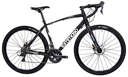 Tommaso Avventura Shimano Sora Gravel Adventure Bike with Disc Brakes, Extra Wide Tires, and Carbon Fork Perfect for Road Or Dirt Trail Touring, Matte Black - Extra Small
