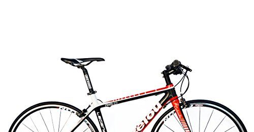 BEIOU 2016 Carbon Comfortable Bicycles 700C Road Bike LTWOO 210 Speed SRAM Brake Complete 18.3 lb Hybrid Bike Toray T800 Fiber CB0012B (White Red, 520mm)