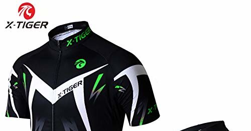 X-TIGER Men's Cycling Jersey Set,Biking Short Sleeve Set with 5D Gel Padded Shorts-Cycling Clothing Set for MTB Road Bike(Green m)