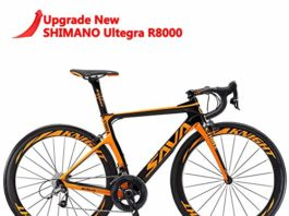 SAVADECK Phantom 2.0 700C Carbon Fiber Road Bike Shimano Ultegra 6800 22 Speed Group Set with Hutchinson 25C Tire and Fizik Saddle (Black Orange,50cm)