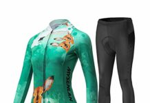 Mysenlan Women's Cycling Long Sleeve Breathable Jersey Set 3D Padded Long Pants Bike Shirt Bicycle Tights Clothing Green M (XL)