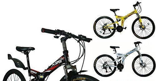 "Xspec 26"" 21-Speed Folding Mountain Bike for Adult"