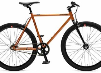 Retrospec Bicycles Mantra V2 Fixed Gear Bicycle with Sealed Bearing Hubs, Black/Copper, 43cm/X-Small