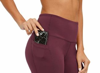 CQC Women's High Waist Yoga Shorts Compression Workout Running Bike Shorts Side Pockets Wine Red XL