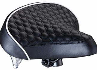 Schwinn Comfort Bike Saddle, Wide Cruiser Saddle, Quilted, Black