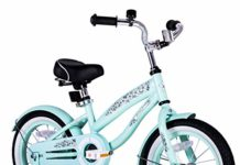 JOYSTAR 12 Inch Girls Bike with Training Wheels & Bell for 2 3 4 Years, Children Beach Cruiser Bicycle with Fender, Green