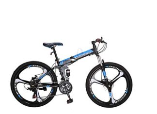 LOOCHO 21 Speed Foldable Mountain Bike 26 Inches 4-Spoke Wheel Dual Suspension Dual Disc Brake MTB Tire Bicycle
