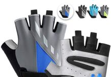 MAJCF Cycling Gloves Men Bicycle Gloves Half Finger 5MM Gel Pad Shock-Absorbing Mountain Bike Gloves, Anti- Slip Road Riding Gloves Breathable Sports Gloves Accessories for Men/Women (Gray&Blue, M)