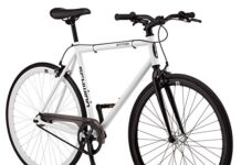 Schwinn Stites Single-Speed Fixie Bike, Featuring 58cm/Large Steel Stand-Over Frame with 700c Wheels and Flip-Flop Hub, Perfect for Urban Commuting and City Riding, White
