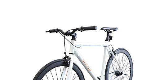 Fixer Bike Road Bike Fixed Gear Alumium Alloy Urban Bike Flip Flop Hub City Bike Riser Bar 700c 54cm(White)