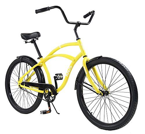 Knus Beach Cruiser Bike,26 inch Urban Single Speed Men Women's Cruiser Bicycle-Yellow
