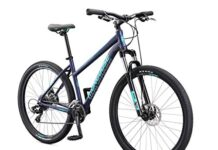 Mongoose Switchback Sport Adult Mountain Bike, 8 Speeds, 27.5-inch Wheels, Womens Aluminum Medium Frame, Navy