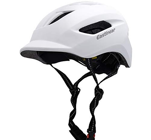 EASTINEAR Adults Bike Helmet for Men Women with LED Taillight Cycling Helmet for Urban Commuter with Sun Visor Breathable Mountain & Road Bicycle Helmets Adjustable Size M/L (White)